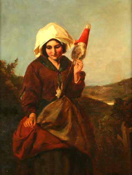 Study of a peasant girl spinning from a distaff